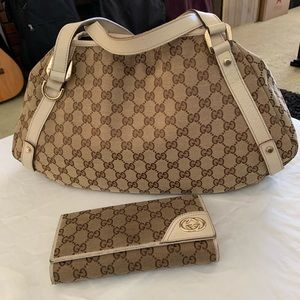 Gucci Pelham Beige Canvas Shoulder Bag & Wallet